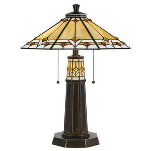 Kinsey Tiffany Style 3 Light Mission Double Lit Table