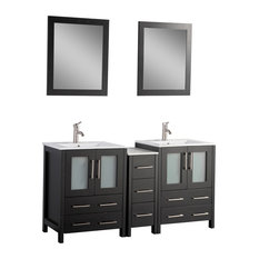 "60"" Vanity Set With Ceramic Top, Espresso, Standard Mirror"