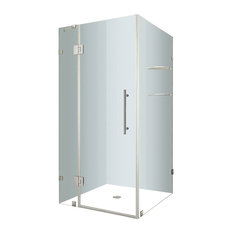 """AvaluxGS Frameless Shower Enclosure With Glass Shelves, Stainless, 38""""x36""""x72"""""""