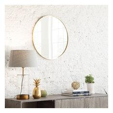 Vasto Metal Frame 24'' Round Mirror, Gold
