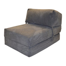 Traditional Single Bed Futon Chair Z-Design With Soft Cushion, Charcoal