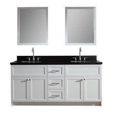 """Hamlet 73"""" Double Sink Vanity Set, Absolute Black Granite Countertop, White"""