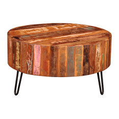 vidaXL Cocktail Coffee Table Antique Round Solid Reclaimed Wood Furniture