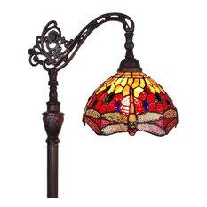 Amora Lighting Tiffany Style Dragonfly Reading Floor Lamp 62 In