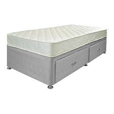 Quattro Mattress and 2-Drawer Platform Divan Bed Set, Grey, Single