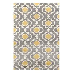 Toscana Moroccan Trellis Gray and Yellow Contemporary Area Rugs, 2'x3'
