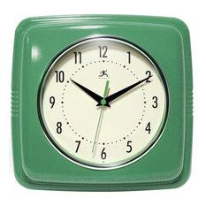"""Square Retro Wall Clock, 9"""""""