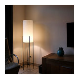 Floor Lamp Rich Black with Off White Shade