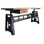 Rustic Deco - Ergonomic Desk, Cast Iron Base, Adjustable Height Hand Crank - Function and form merge seamlessly to create this terrific industrial desk, designed with ergonomics in mind. The beautifully-grained, solid hardwood top supplies a smooth and attractive work surface that adjusts a full 11 inches (29-40). So you can work seated, or you can raise the top to stretch your legs a bit and stay connected and busy while standing. It's as easy as a few spins of the valve crank. We've added a drawer for essentials or just a few odds and ends you might want at hand. Your options are near limitless. You might want to enjoy a meal while taking a break and enjoying a bit of TV fare. The handcrafted cast iron base, sleek and sturdy, is the perfect foundation for this unit. Durable and functional, you'll appreciate bringing this piece into your life. Peruse our online store to find a number of wonderful, handcrafted seating units that fit nicely with this desk.
