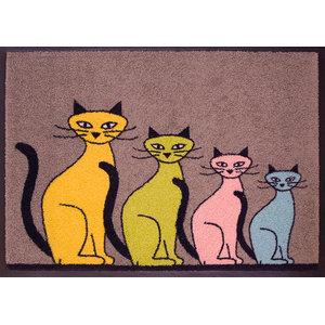 Easy Clean Four Cats Doormat