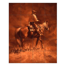 "Ceramic Tile Mural Backsplash, By Hisself by Jack Sorenson, 32""x40"""