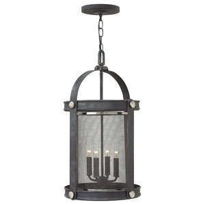 Cage 4-Light Pendant Chandelier, Aged Zinc