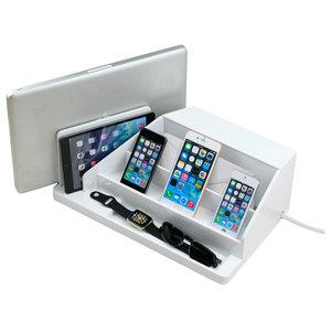 Charging Station, Valet, and Desktop Organizer, High-Gloss White