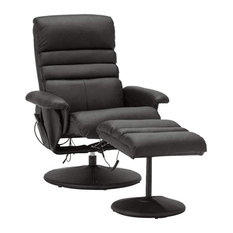 Modern Recliner Chair With Ottoman Massage Function For Your Comfort Black