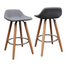 Counter Height No Back Stools : ... Counter Stools, Set of 2, Wood and Gray - Bar Stools And Counter