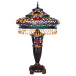"""River of Goods - 27.5"""" Stained Glass Parisian Double Lit Table Lamp - Grandiose glamour! This stained glass double lit lamp is handcrafted with an incredible 1199 pieces of glass and 34 cabochons. Delicate beads adorned the edge of the shade giving it an extra flair. This lamp is sure to attract attention, and with the multitude of colors, it will accommodate many different decors. The base and the shade can be lit separately, which allows you to use the base as a night light. Functional and fabulous all in one!"""