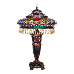 """27.5"""" Stained Glass Parisian Double Lit Table Lamp"""