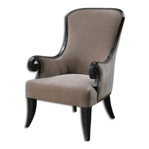 Lovely Kandy Taupe Velvet Arm Chair Poplar Frame Brass Nails