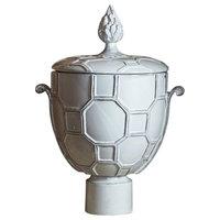 Elegant Diamond Lattice Ginger Jar Urn, Flame Finial Lid Ceramic Ivory White