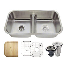 mr direct mr direct 512 half divide double bowl kitchen sink ensemble 16 gauge - Kitchen Sink