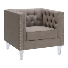 Contemporary Polyester Velvet Fabric Upholstered Button Tufted Silver Arm Chair by HomeRoots