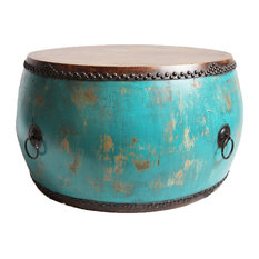 Turquoise Drum Coffee Table by Design Mix Furniture