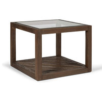 Argyll Square Wood Coffee Table With Glass Top, Antique Walnut