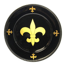 Fleur De Lis Black Charger Plate