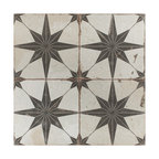 """SomerTile 17.63""""x17.63"""" Kings Star Ceramic Floor and Wall Tile, Case of 5, Nero"""