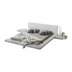 Fujian Modern Bed With 2 Night Stands King, 3-Piece Set, Ash White