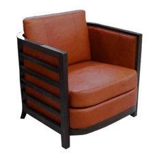 Montecito Barrel Ventura Leather Chair, Finish: Fawn, Leather: Indigo Mist