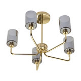 Casilda 5-Light Ceiling Light With Smoked Glass Shades, Brass