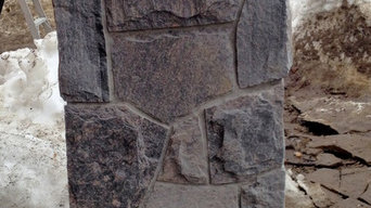 "Solid Granite Pillars - 1"" thick real stone"