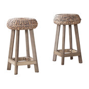 "Talor Backless Round Water Hyacinth 24"" Stools, Set of 2"