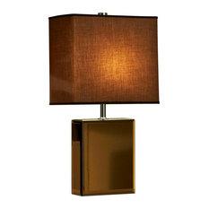 Table Lamps Shades: NOVA of California - Hepburn Table Lamp-Brown-Bronze Chrome Mirror,Brown  Shade,Lighting