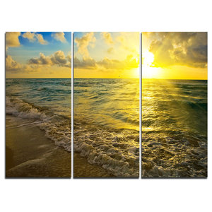 """Colorful Sunset Reflecting in Waters"" Wall Art, 3 Panels, 36""x28"""