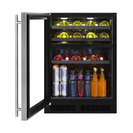 """Marvel ML24WBL 24"""" Wide 16-Bottle and 112-Can Built-In Dual Zone Wine and Bever"""