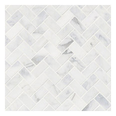 Decorative Calacatta Cressa Herringbone Honed, Marble,