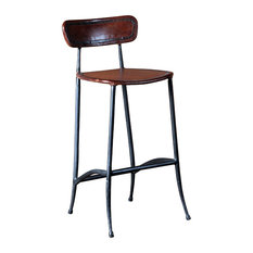 Rocket Bar Stool, Sienna Brown and Burnished Iron