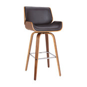 """Tyler 26"""" Mid-Century Swivel Counterstool, Brown Faux Leather With Walnut Veneer"""