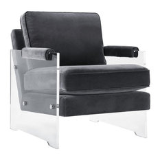 Milana Floating Chair Gray Velvet