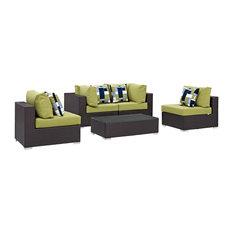 Modern Contemporary Outdoor Patio 5-Piece Sectional Sofa Set, Green, Rattan