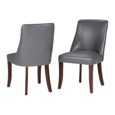 Walden Faux Leather Deluxe Dining Chairs, Stone Gray, Set of 2