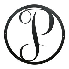 Large Monogram P Circle Door Hanger, 18 Raw Metal