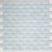"12""x12"" Curved White Milk Glass Subway Tile, Full Sheet"