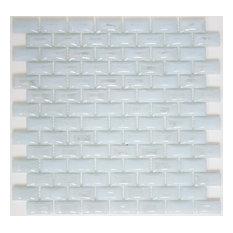 """12""""x12"""" Curved White Milk Glass Subway Tile, Full Sheet"""
