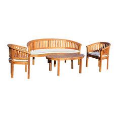 Teak Wood Peanut 4-Piece Patio Lounge Set, Triple Bench, 2 Chairs and Coffee Tab