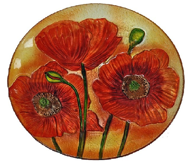 18\  Red Poppy Flowers Plate  sc 1 st  Houzz : red decorative plates - pezcame.com