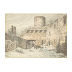 Winter View Of The Courtyard Of A Medieval Castle In Ruins Print
