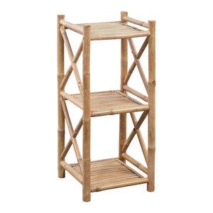 VidaXL 3-Tier Square Bamboo Shelf